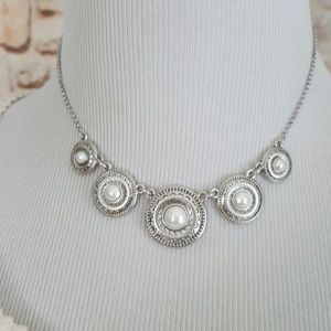 New Lucky Brand Silver Tone Faux Pearl Necklace